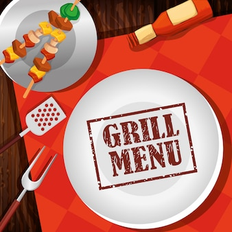 Grill menu with delicious brochette and dish