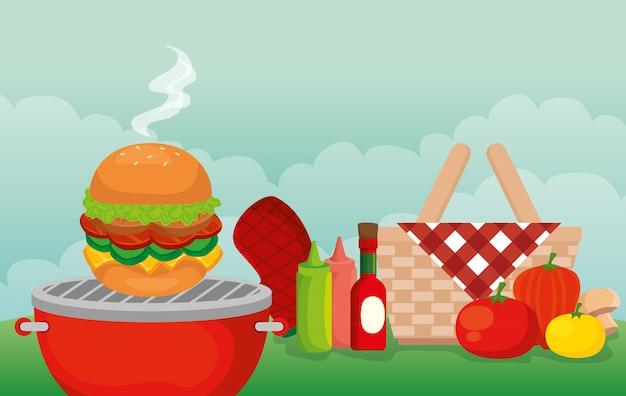 ピクニックシーンで美味しい料理とグリルメニュー