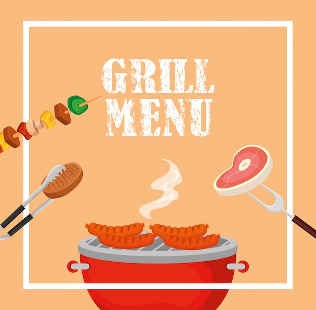 Grill menu with delicious food in square frame