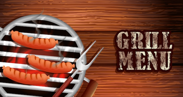 Grill menu with delicious food