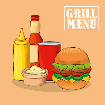 Grill menu with delicious hamburger