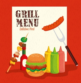 Grill menu with hamburger and delicious food