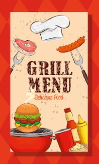 Grill menu with hat chef and delicious food