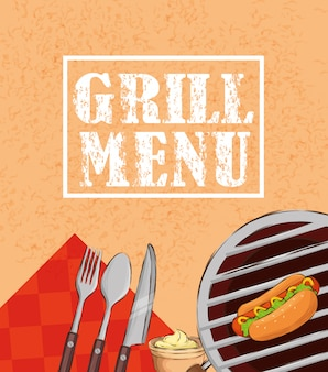 Grill menu with hot dog and cutlery