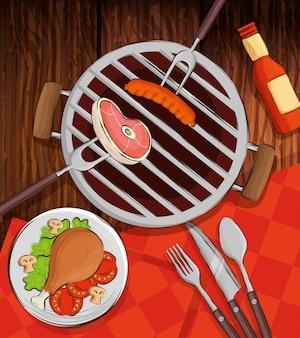 オーブンと木製のテーブルで美味しい料理のグリルメニュー