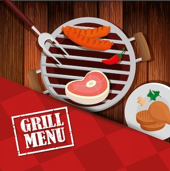 Grill menu with oven and icons in wooden table