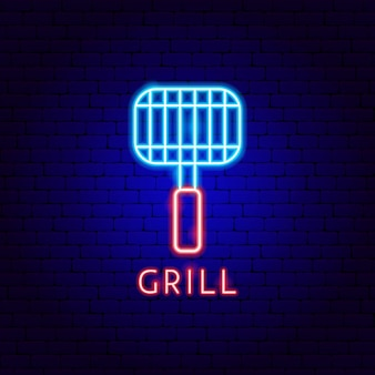 Grill neon label. vector illustration of barbecue promotion.