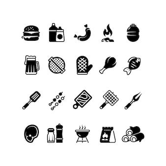 Гриль открытая кухня иконы. семейное барбекю, символы летнего пикника. мясо и овощи барбекю