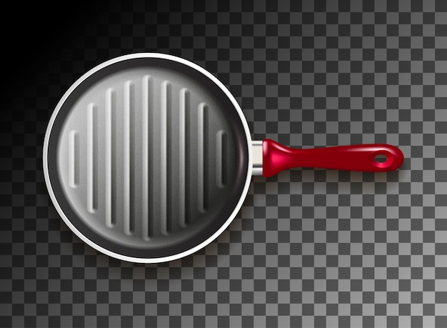 Grill pan on black space