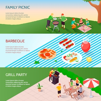 Grill party isometric banners set
