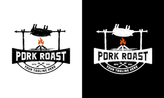 Гриль, жаркое из свинины логотип иллюстрации дизайн шаблона вдохновение