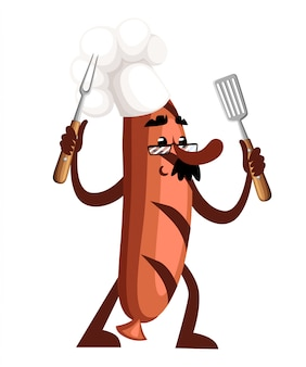 Grill sausage character . sausage mascot holds barbecue tools. the concept of a cook.  illustration  on white background. web site page and mobile app design