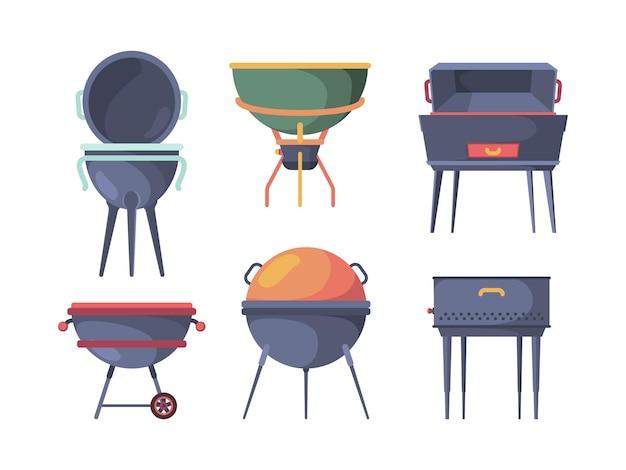 그릴 스탠드. 바베큐 전통 야외 피크닉 파티 아이템은 뜨거운 스테이크 스토브 굽기 벡터 삽화를 준비합니다. 불 요리 그릴, 장비 바베큐 수집