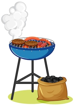 Grill stove with steak and sausage on white background