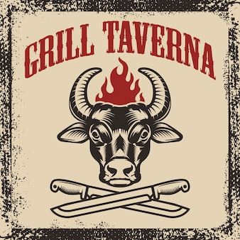 Grill taverna. bull head with two crossed knives on grunge background.  illustration