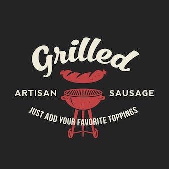 Grilled artisan sausage hot dog day vintage  card, poster or label template with typography.