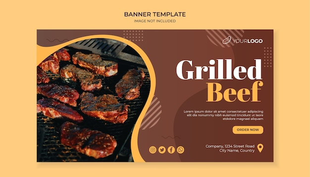 Grilled beef food banner template