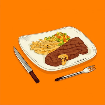 Grilled beef steak on a plate with orange background