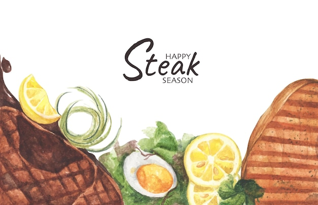 牛肉のグリルステーキとゆで卵のサラダ、テキスト用のコピースペースを備えた上面図。フラットレイ。水彩イラスト。