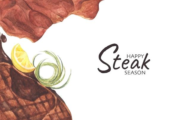 Жареные стейки из говядины, вид сверху с копией пространства для текста. плоская планировка. акварельная иллюстрация.