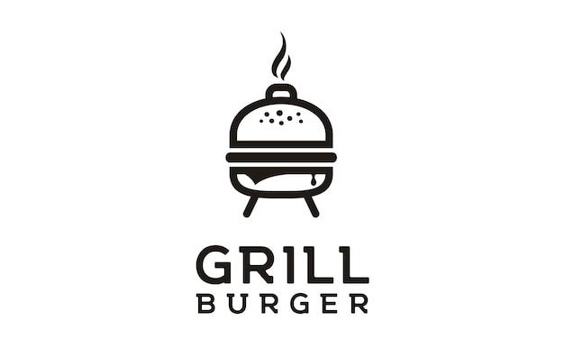 Grilled burger logo design