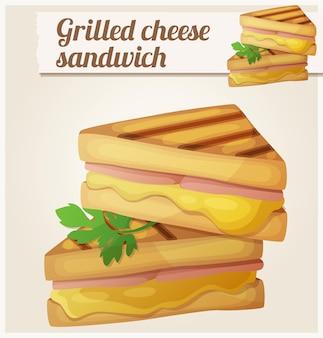 グリルチーズサンドイッチ詳細ベクトルアイコン