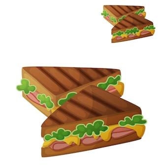 白い背景で隔離のグリルチーズサンドイッチ詳細なベクトルアイコン