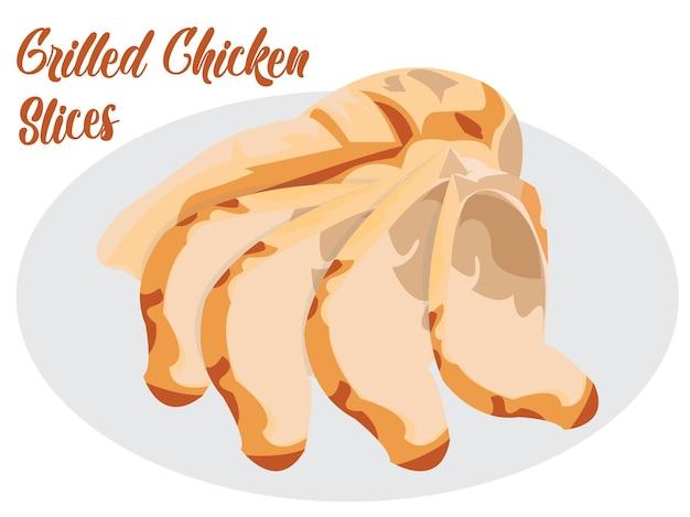 슬레이트 접시에 구운 치킨 필레입니다. 회색 콘크리트 배경 인쇄