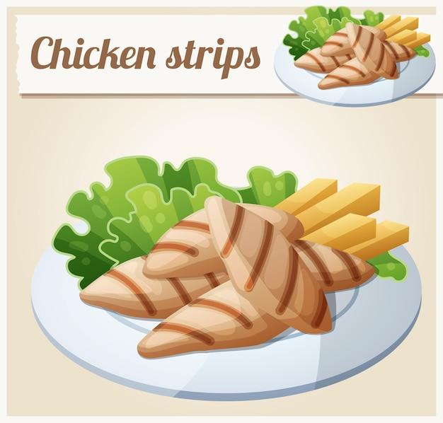 Жареные куриные полоски подробные векторные иконки