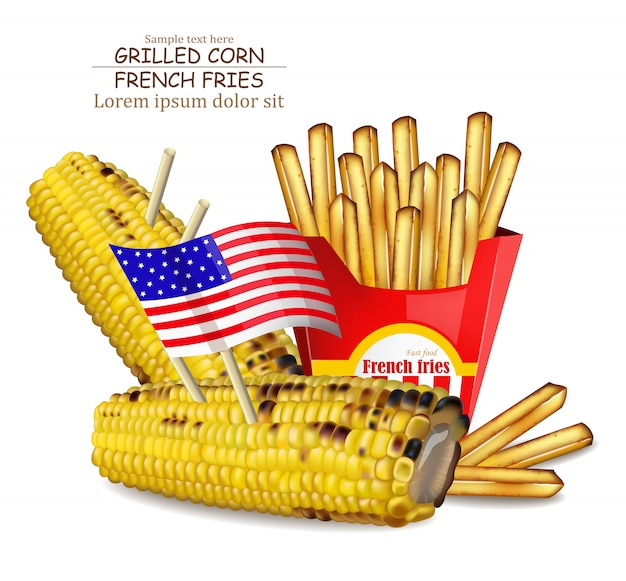 Grilled corn and french fries