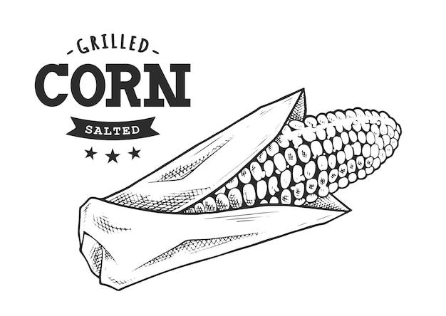Жареная кукуруза ретро эмблема черный и белый. шаблон логотипа с черно-белыми буквами и эскизом початков кукурузы. eps10 векторные иллюстрации.