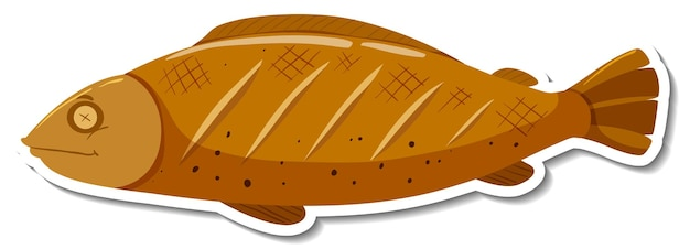 Grilled fish cartoon sticker on white background