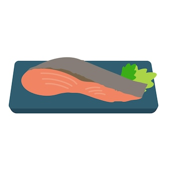 Grilled fish flat illustration design isolated
