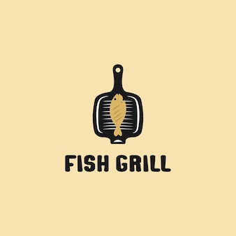 Grilled fish on the grid. logo design illustration. fish grill vector line icon isolated on white background.
