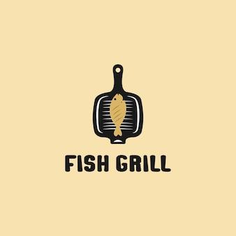 Жареная рыба на решетке. иллюстрация дизайна логотипа. значок линии вектора гриль рыбы, изолированные на белом фоне.