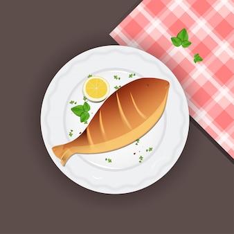 레몬과 바질 잎으로 생선 구이.