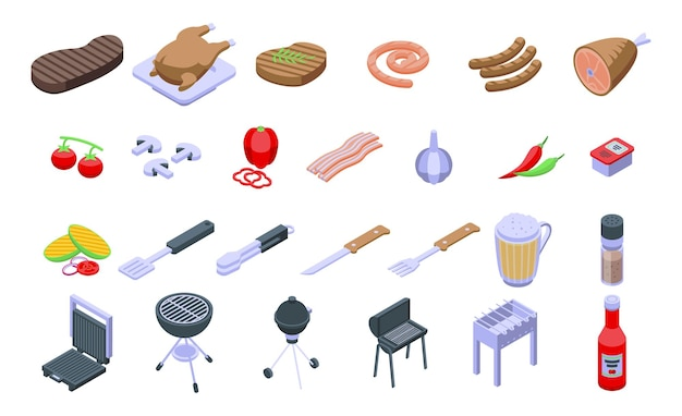 Grilled food icons set. isometric set of grilled food vector icons for web design isolated on white background