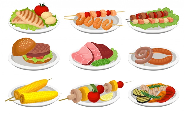 Grilled food set, delicious dishes for barbecue party menu, meat and vegetarian food  illustration on a white background