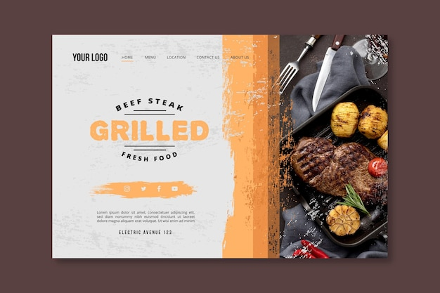 Grilled fresh food bbq landing page