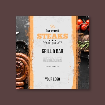 Grilled fresh food bbq square flyer