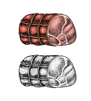 Grilled meat pork or beef meatloaf food in vintage style template emblems or