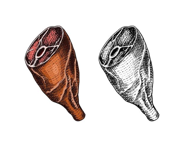 ヴィンテージスタイルのテンプレートで焼いた肉のローフードまたはビーフレッグバーベキュー料理