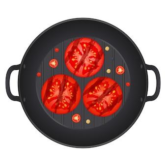 Жареный красный помидор, нарезанный ломтиками в сковороде с перцем чили, изолированные на белом фоне. сочный спелый помидор. иллюстрация.