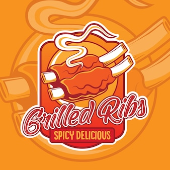 Grilled ribs logo design
