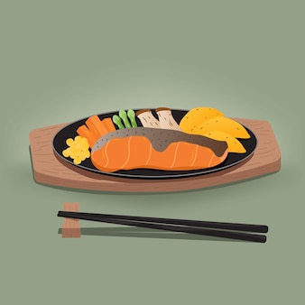 Grilled salmon on a plate. vector illustration on green background illustration vector