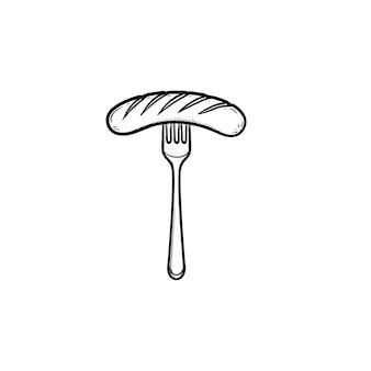 Колбаса на гриле на вилке рисованной наброски каракули значок. векторная иллюстрация эскиз вилки с колбасой для печати, интернета, мобильных устройств и инфографики, изолированные на белом фоне.