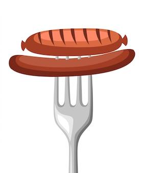 Grilled sausage on a steel fork.  illustration  on white.