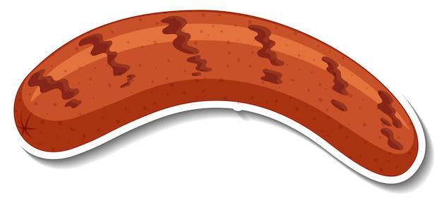 Наклейка жареная колбаса на белом