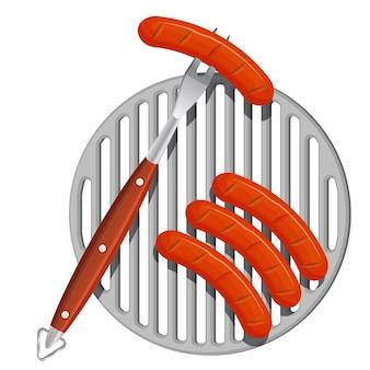 Жареные сосиски на плоском дизайне металлической сетки барбекю на белом фоне. один из сосисок насажен на большую вилку, а трое других лежат на гриле. иллюстрация