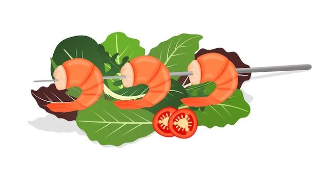 レタスの葉のミックスで焼きエビの串焼き。唐辛子とおいしい新鮮なエビフライ料理。海の食べ物の栄養の概念。図。